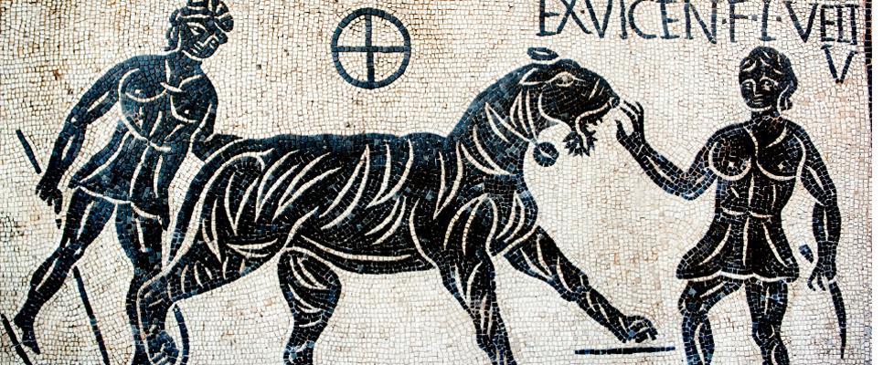 Gladiatoren mit einem Tiger