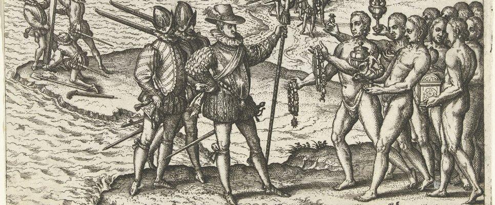 Kolumbus landet in Amerika, Theodor de Bry/Rijksmuseum Amsterdam