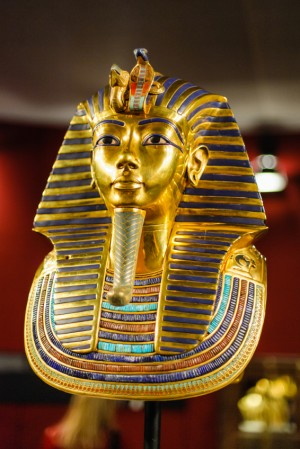 Replica of the burial mask of egyptian pharaoh tutankhamun