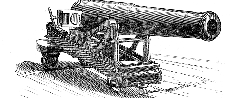 Vintage engraving of a 32 Pounder Prussian Krupp Siege Gun, a breech loader with Breech piece open for admission of the Shell and Gunpowder 1884