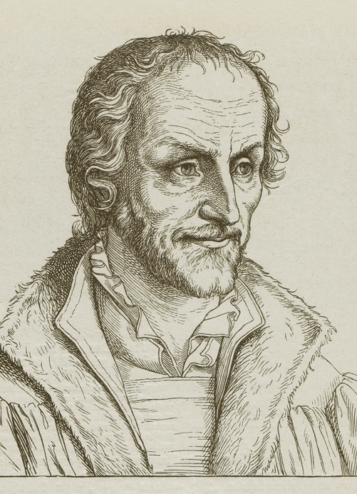 Philipp Melanchthon (1497 - 1560), German philologist, philosopher, humanist, theologian, poet and a companion of Martin Luther during the Reformation. Woodcut engraving, published in 1877.