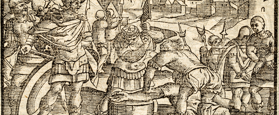 Cutting off the thief's hand, a photograph of an original woodcut engraving by Christoffel Van Sichem II from Flavii Joseph Hoogberoemde Joodsche Historien published in 1636.