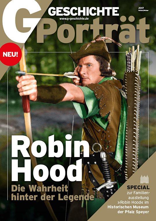 Cover: Schauspieler Errol Flynn als Robin Hood mit Pfeil und Bogen