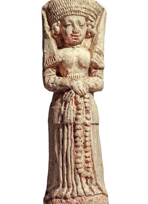 Keramikfigur: Frau in mittelalterlicher Kleidung