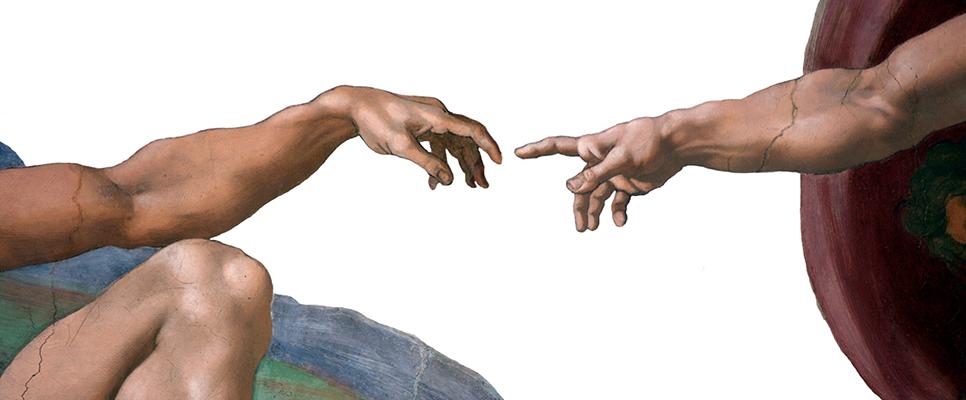 """Ausschnitt aus """"Die Erschaffung Adams"""" von Michelangelo. Die Zeigefinger von Gott un dem Menschen berühren sich fast."""