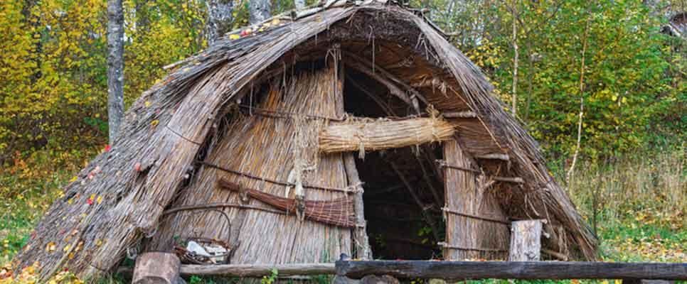 Steinzeithütte aus Schilf