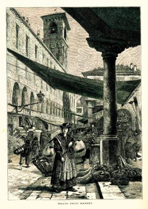 Illustration einer Frau auf einem Obstmarkt in Venedig im 19. Jahrhundert